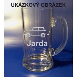 Pískovaný pivní tuplák se jménem a obrázkem auto 1