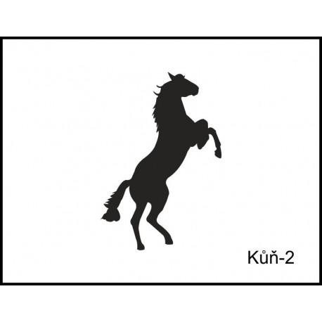 Pískovaná třetinka se jménem a obrázkem motiv koně