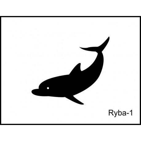 Pískovaná třetinka se jménem a obrázkem motiv ryby