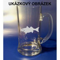 Pískovaný půllitr se jménem a obrázkem motiv ryby