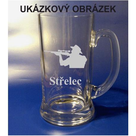 Pískovaný pivní tuplák se jménem a obrázkem sport 1