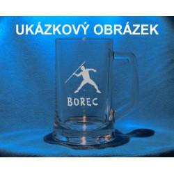 Pískovaná pivní třetinka se jménem a obrázkem sport 2