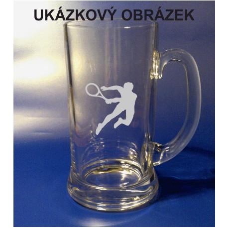 Pískovaný pivní tuplák se jménem a obrázkem sport 2