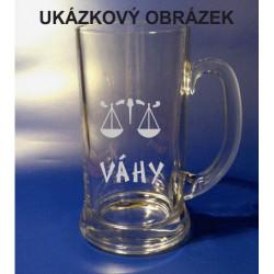 Pískovaný pivní tuplák se jménem a obrázkem znamení 1