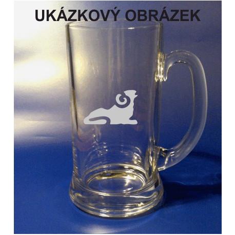 Pískovaný pivní tuplák se jménem a obrázkem znamení 2